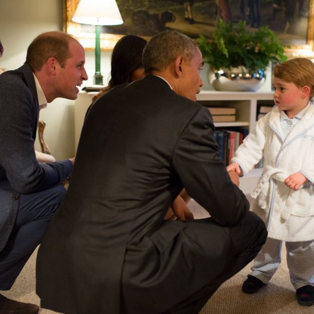 Prince George meets President Obama during a trip to London on April 22, 2016.