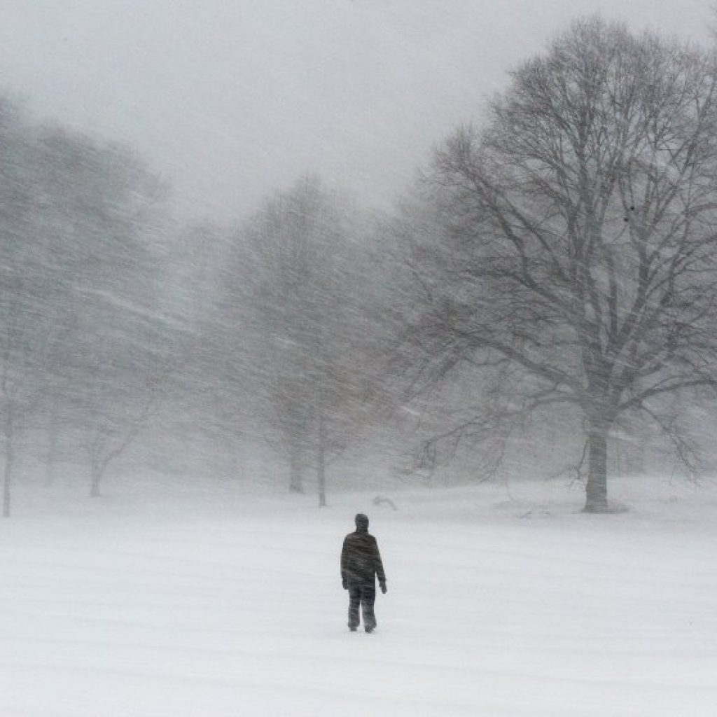 Braving the snow at Prospect Park in New York.