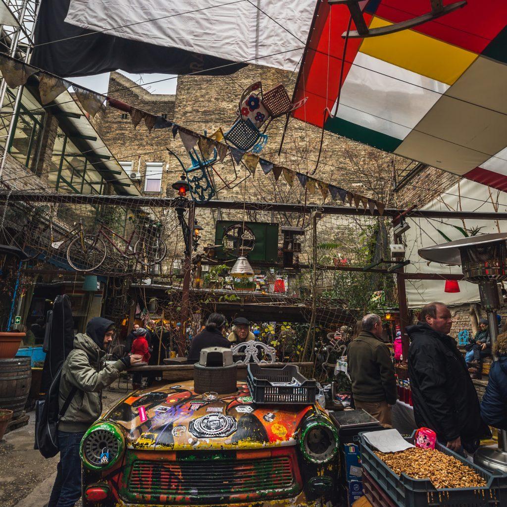 BUDAPEST, HUNGARY - 20, DECEMBER: traditional Sunday local farmers' market in Szimpla Kert ruin pub, Jewish quarter. Winter, 2015.