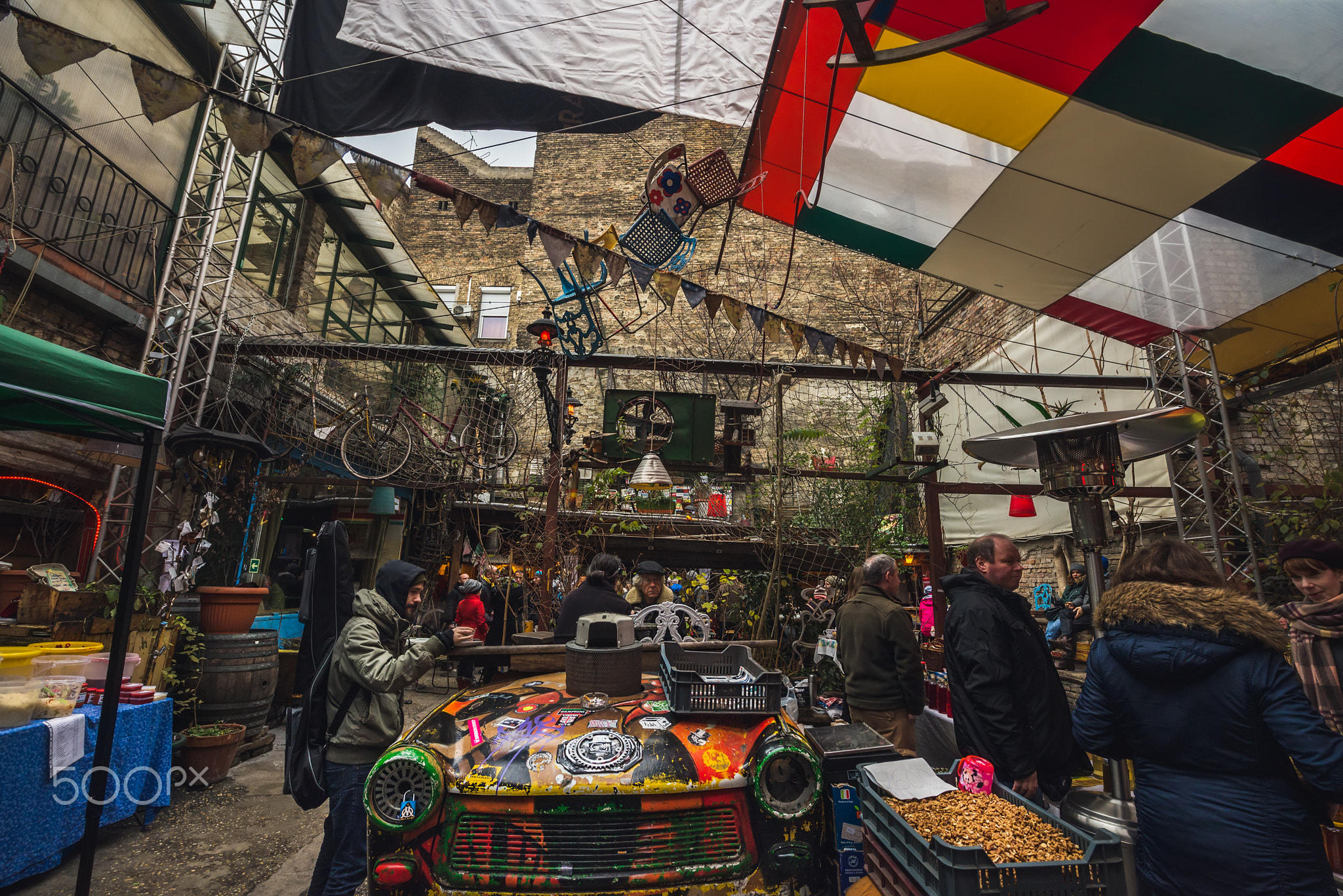 BUDAPEST, HUNGARY - 20, DECEMBER: traditional Sunday local farmers' market in Szimpla Kert ruin pub, Jewish quarter. Winter, 2015.