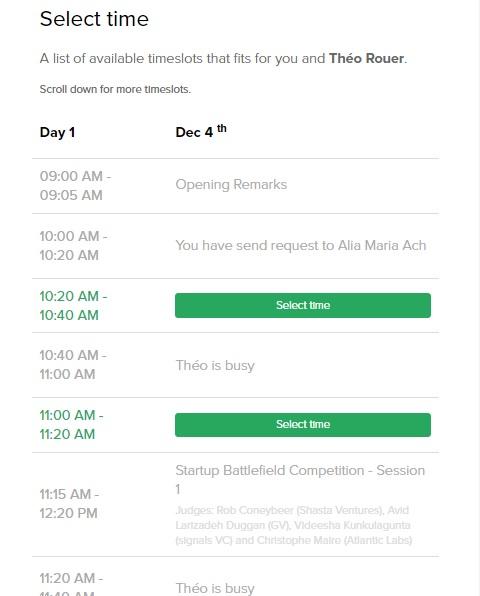 """Скриншот окна бронирования встреч в Brella. """"You have send request to…"""" означает, что вы уже выслали предложение о встрече другому человеку на этот таймслот, НО вы не знаете, свободен ли этот таймслот у текущего контакта :) И при отмене вполне вероятно увидеть, что контакт """"is busy"""""""