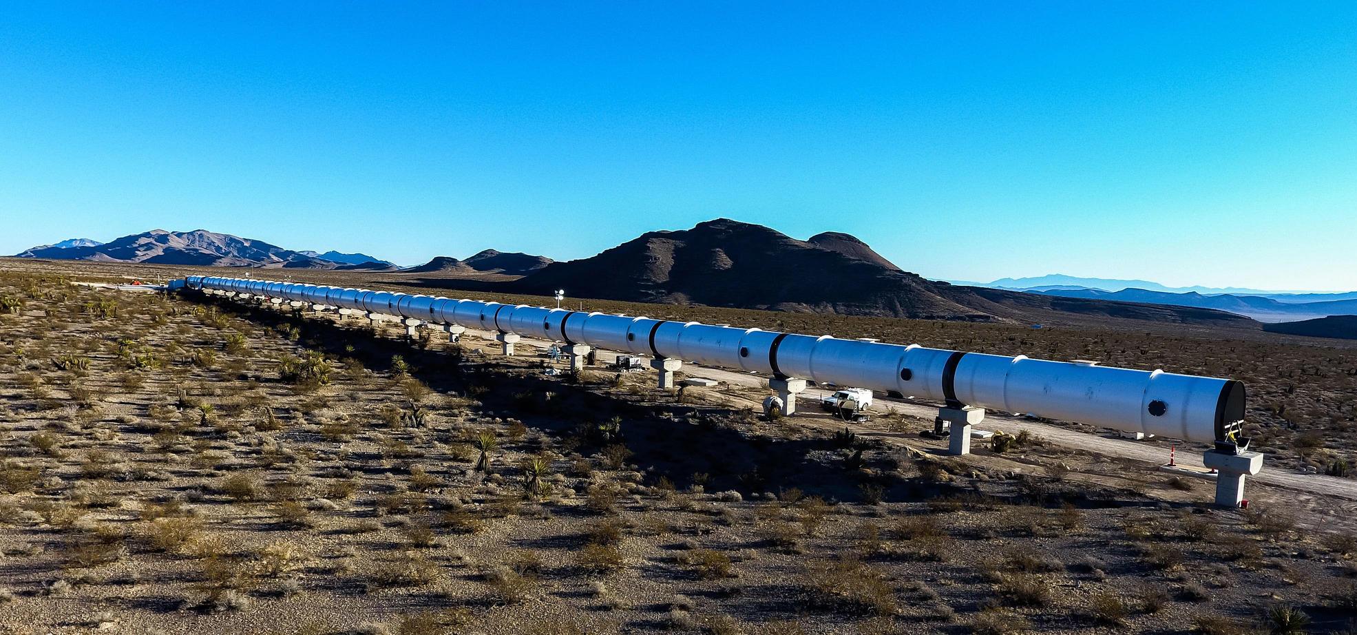 Испытательный полигон Hyperloop One в пустыне под Лас-Вегасом. Фото: hyperloop-one.com