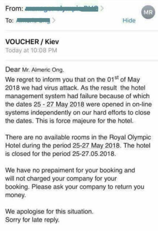 4-х звездочный Royal Olimpic Hotel отписался, что 1 мая на их сайт было совершена вирусная атака