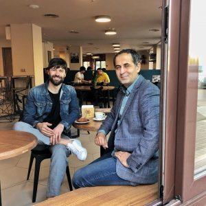 С гостями в кофейне на Европейской площади