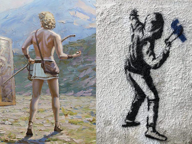 На трафарете изобразили безликого революционера