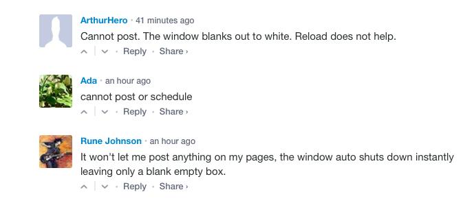 жалобы на работу Facebook