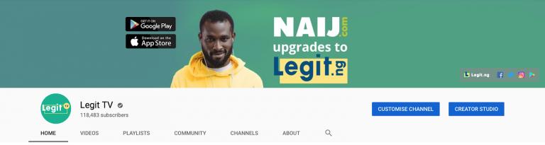 В последней итерации мы использовали обложку на канале для того, чтоб анонсировать ребрендинг нашего нигерийского портала из NAIJ.com в Legit.ng.