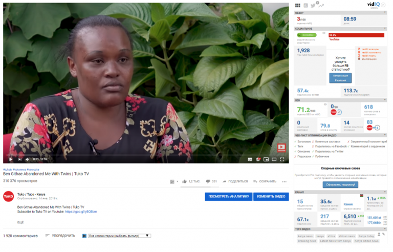 Эффект выхода в тренды на примере публикации на кенийском канале: