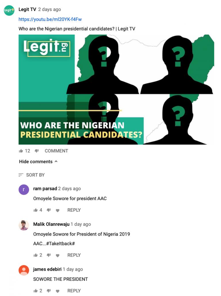 В этом примере мы просто анонсировали выход нового видео в разделе сообщество, но за счет того, что тема президентских выборов очень острая, даже это вызвало лайки и обсуждения в комментариях