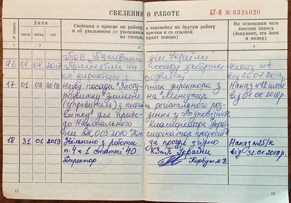 Трудовая книжка Андрея Стецовского