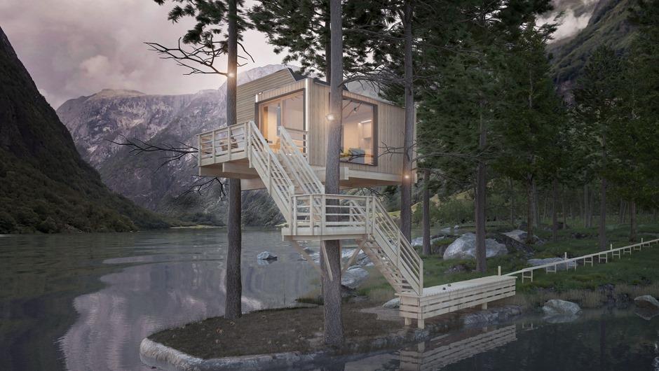Компьютерное изображение дома на дереве. Фото: Houzera