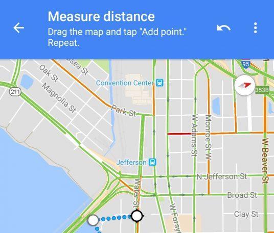 Функция измерения расстояния поможет четко определить расстояние между любым количеством объектов или остановок