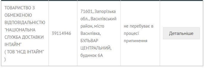 Информация о компании «ІнТайм». Источник фото: Минюст