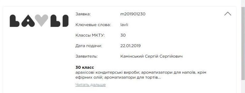 Информация о торговой марке Lavli. Фото: patentresult.ua