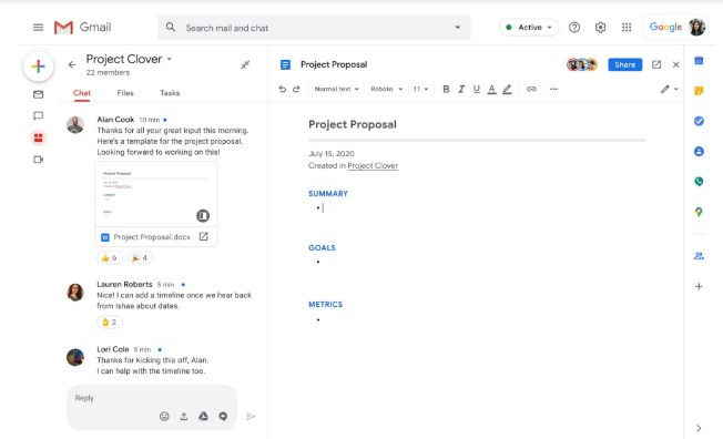 Работа над совместными проектами в Gmail
