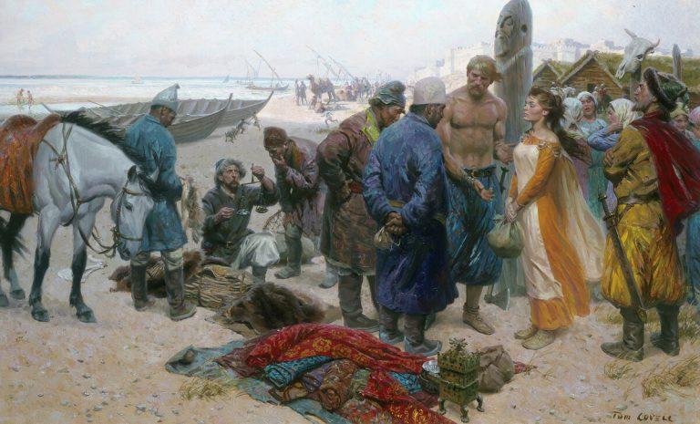 Обнаженный до пояса викинг предлагает персидскому купцу рабыню в Волжской Булгарии