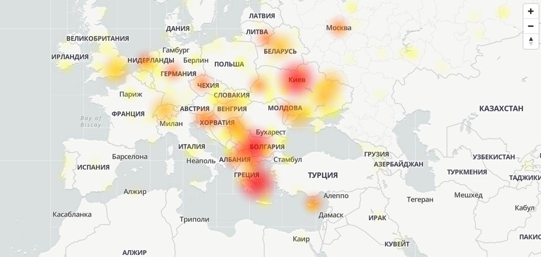 Карта сбоев в Viber