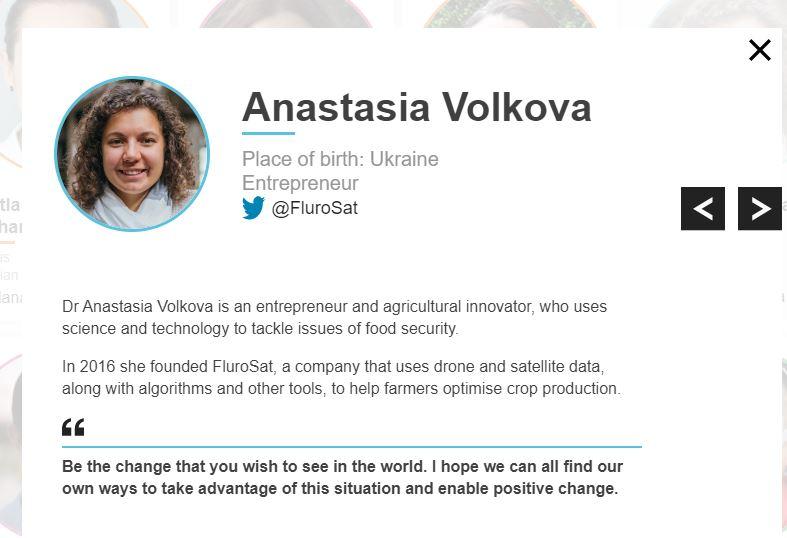 Анастасия Волкова в списке BBC
