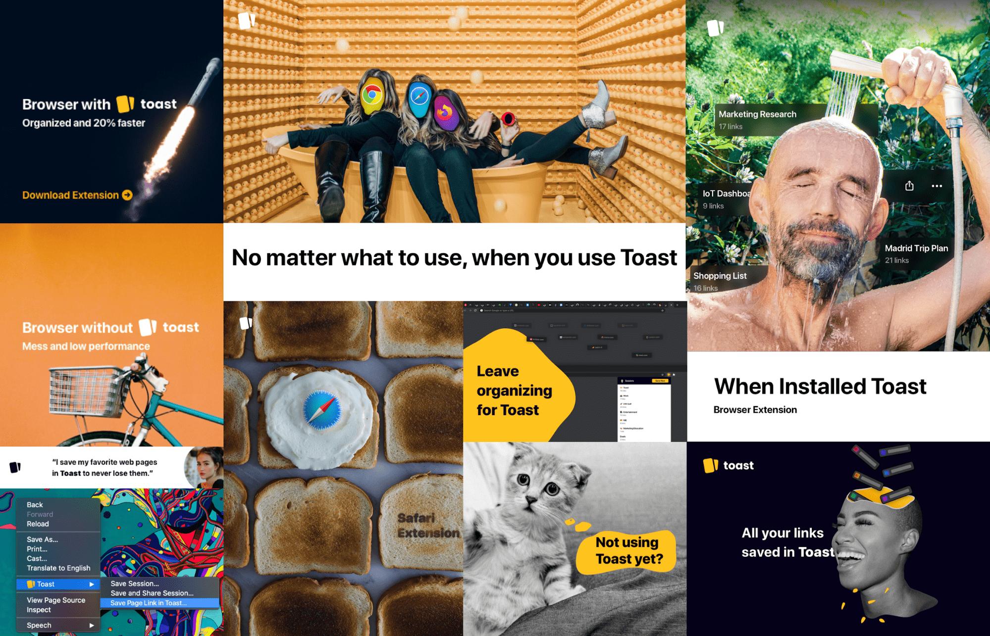 Подборка рекламных креативов Toast