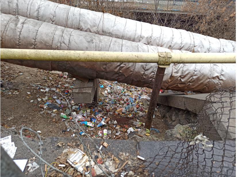 Горы мусора на берегах Лыбеди