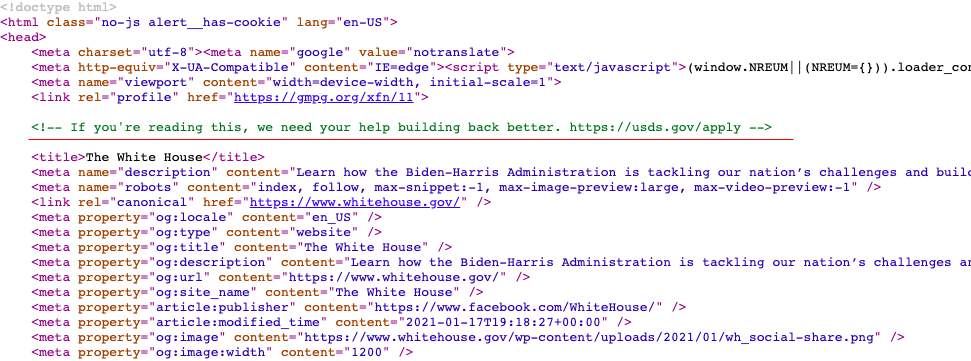 Скриншот кода главной страницы сайта Белого дома