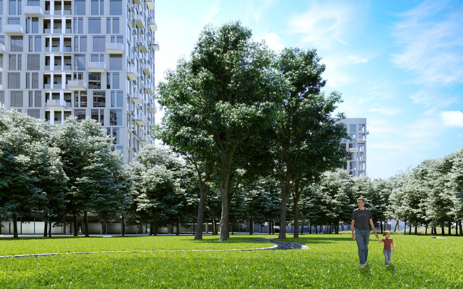 Візуалізація парку на території житлового комплексу Creator City