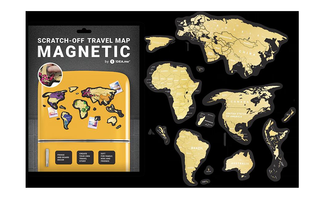 Скретч-карта мира магнитная 1DEA.ME